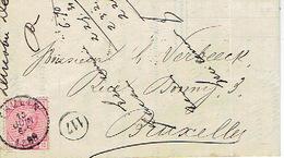 N°38 Sur Lettre Oblitération THULIN 13 JUIN 1885 Vers BRUXELLES + Lettre à Entête DUCOBU-DECAUDIN Fabricant De Papiers - 1883 Léopold II