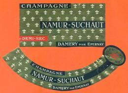 étiquette Ancienne + Collerette De Champagne Demi Sec Namur Suchaut à Damery - 75 Cl - Champagne