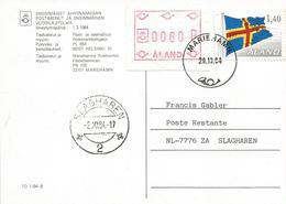 Aland 1984 Mariehamn ATM FRAMA Flag Poste Restante Viewcard - Aland