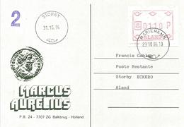 Aland 1984 Mariehamn ATM FRAMA Local Rate Storby Viewcard - Aland
