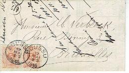 2 X N°28 Sur Lettre Oblit BOUSSU 12 MAI 1885 Vers BRUXELLES + Lettre à Entête DUCOBU-DECAUDIN Fabricant De Papiers - 1869-1888 Lion Couché