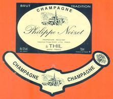 étiquette + Collerette De Champagne Brut Philippe Noizet à Thil - 75 Cl - Champagne