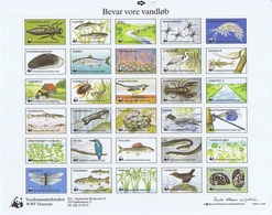 Denmark WWF 1985.  Sheet  With 30 Labels; Fauna And Flora.  Preserve Danish Nature - W.W.F.