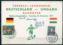 """Germany Sonderkarte Fußball ,Soccer 1957 Mit Mi.Nr.256 U.TST""""Hannover,""""-Länderspiel Germany-Ungarn""""1 Karte - Fussball"""