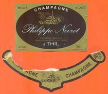 étiquette + Collerette De Champagne Brut Rosé Philippe Noizet à Thil - 75 Cl - Champagne