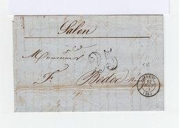 Sur Pli Avec Correspondance CAD Crest 25 Août 1851.Taxe 25 Centimes. Vers Salon: CAD Salon Et Marseille. (967) - 1849-1876: Classic Period
