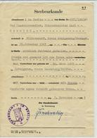 BERLIN / DDR - 1955 , Sterbeurkunde Mit Gebührenmarken - Für Einen 1943 Gefallenen Soldaten In Shitomir / Ukraine - Obituary Notices
