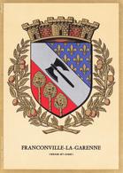 95 FRANCONVILLE LA GARENNE /   - BLASON  AVEC HERALDIQUE ET PETIT HISTORIQUE AU VERSO - CARTE DOUBLE - Franconville