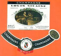 étiquette + Collerette De Champagne Brut Louis Nicaise à Hautvillers - 75 Cl - Dom Pérignon - Champagne