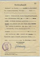 BERLIN / DDR - 1955 , Sterbeurkunde Mit Gebührenmarken - Für Einen 1943 Gefallenen Soldaten In Shitomir / Ukraine - Todesanzeige