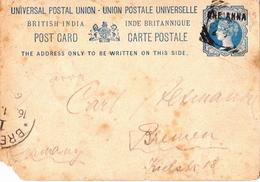 Postal History: British India Postal Stationery Card, Damaged! - India (...-1947)