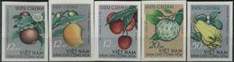 (162)1964 Vietnam Del Nord, Frutti Diversi,  Serie Completa Non Dentellata Senza Gomma - Vietnam
