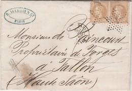 Lettre Facture 1869 / Allegri 18 Rue Richert Paris / ( Napoleon + Cachet étoile N° 1 ) X 2 - 1849-1876: Classic Period