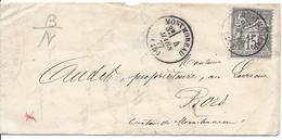 MONTEREAU 45 Type 16 4 Mars 1877 Timbre 15c Sage N° 66 Pour Piors ? (canton De Montereau-Fault-Yonne Cote 45€ - Marcophilie (Lettres)