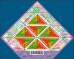 2015 Kazakhstan - Nauryz Lunar New Year - Odd Triangular Stamps In Diamond Shape Sheetlet - Sheetlet MNH** Mi875 (a17) - Kasachstan