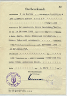 BERLIN / DDR - 1954 , Sterbeurkunde Mit Gebührenmarken - Für Einen 1945 In Stralsund Verstorbenen - Todesanzeige