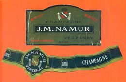 étiquette + Collerette Métal De Champagne Brut J M Namur à Verzenay - 75 Cl - Champagne