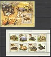 X982 2006 TOME E PRINCIPE FAUNA TURTLES TARTARUGAS 1KB+1BL MNH - Turtles