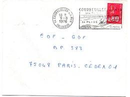 CALVADOS - Dépt N° 14 = COURSEULLES Sur MER 1976 = FLAMME à DROITE = SECAP Illustrée 'PORT / PLAGE / Huitres ' - Postmark Collection (Covers)