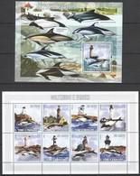 X983 2006 S.TOME E PRINCIPE FISH & MARINE LIFE DOLPHINS GOLFINHOS E FAROIS 1KB+1BL MNH - Turtles