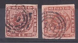 Danemark - 1858/63 - N° 8 X 2 Nuances : Brun-jaune Et Jaune-brun - 1851-63 (Frederik VII)