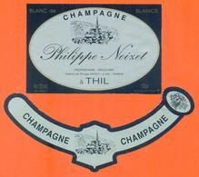 étiquette + Collerette De Champagne Brut Blanc De Blancs Philippe Noizet à Thil - 75 Cl - Champagne
