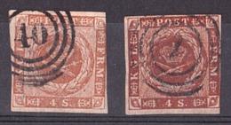 Danemark - 1854/64 - N° 4 X 2 Nuances : Jaune-brun Et Brun-jaune - 1851-63 (Frederik VII)