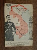 Carte Géographique - Tonkin 1892-96 - Centenaire Du Maréchal Galliéni - Piraterie Détruite, Pirates, Laos, Annam, Saigon - Cartes Géographiques