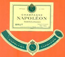 étiquette + Collerette De Champagne Brut Napoléon - Prieur à Vertus - 75 Cl - Champagne