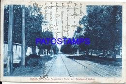 105131 ARGENTINA SANTA FE BOULEVARD GALVEZ RAILROAD SPOTTED POSTAL POSTCARD - Argentina