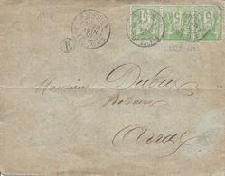 MARQUION PAS DE CALAIS 1901 Tarif 15c Bande De 3 (1 Défaut) Du 5c Sage Type 1 N°102 Pour Arras Cote 45€ Boite Rurale  E - Marcophilie (Lettres)