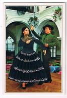 CPM Brodée - Danseurs Espagnols De Flamenco, Broderie, Ajout De Tissu Et Strass - Brodées