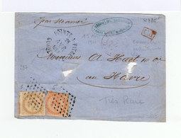 Sur Env. Par Steamer 2 Timbres émissions Générales 40 C.  Et 10 C.  Obl. Losange. CAD Pointe à Pitre 1861. (970) - Aigle Impérial