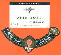 étiquette + Collerette De Champagne Brut Jean Noel à Vert Toulon - 75 Cl - Champagne