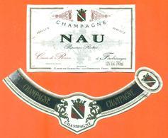 étiquette + Collerette De Champagne Brut Nau à Férébrianges - 75 Cl - Champagne