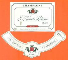 étiquette + Collerette De Champagne Brut J Noiret Lebrun à Baye - 75 Cl - Champagne