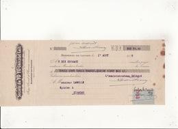Societé Du YO YO  Chocolat Cuit  Bagnères De Luchon 1 Aout 1919 Timbre 80c - Lettres De Change