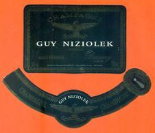 étiquette + Collerette De Champagne Brut Guy Niziolek à Damery - 75 Cl - Champagne