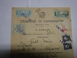 CAPANNORI  --LUCCA  --- MARCA COMUNALE    --- FISCALE --- L. 5,00+ 3,00 +2,00  -- SU DOCUMENTO - Fiscales