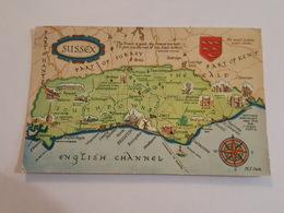 Carte Géographique Du Sussex - English Channel, Petworth, Horsham, Cuckfield, Burwash, Lewes, Arundel, Chichester - Cartes Géographiques