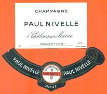 étiquette + Collerette De Champagne Brut Paul Nivelle à Chalons Sur Marne - 75 Cl - Champagne