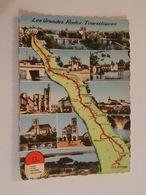 Carte Géographique, Les Grandes Routes Touristiques, Paris - Les Settons, Melun, Fontainebleau, Montereau, Sens, Avallon - Cartes Géographiques