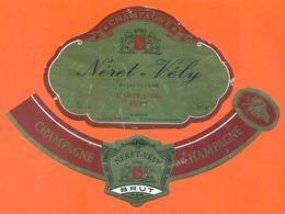 étiquette + Collerette De Champagne Brut Néret Vély à Vauchamps - 75 Cl - Champagne