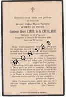 FAIRE PART DECES 20/10/1924 DE JEANNE ADELE MARIE THERESE DE BERG DE BREDA COMTESSE HENRI AYMER DE LA CHEVALERIE - Décès