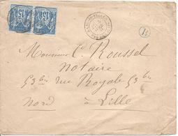 RANG DU FLIERS PAS DE CALAIS Type 18 Du 5 4 1881 15C SAGE Type 2 En Paire Pour Lille Boite Rurale B En Bleu - Marcophilie (Lettres)