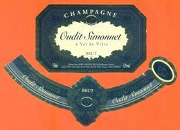 étiquette + Collerette De Champagne Brut Oudit Simonnet à Val De Vière - Bassuet - 75 Cl - Champagne