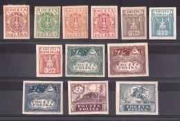 Pologne - 1919 - N° 172 à 183 - Neufs * - Pologne Du Nord - Non Dentelés - 1919-1939 Republic