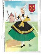 """Theme-Fantaisie-Carte *BRODEE Et TISSUS"""" Coiffe Et Costume Du Poitou - Brodées"""
