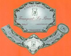 étiquette + Collerette De Champagne Brut Franquet Le Brun à Monthelon - 75 Cl - Champagne