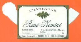 étiquette + Collerette De Champagne Brut René Nominé à Villevenard - 75 Cl - Champagne